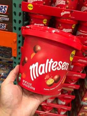 美国直邮 Maltesers麦提莎超纯麦丽素夹心巧克力桶装878.9g