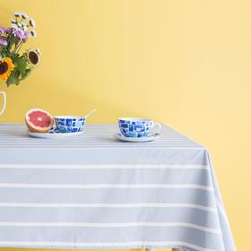 Slowly系列蓝白条纹防水桌布120*140