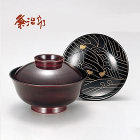 【千鸟波纹】粂治郎日本越前漆器 手描莳绘 吸物碗汤碗5只装