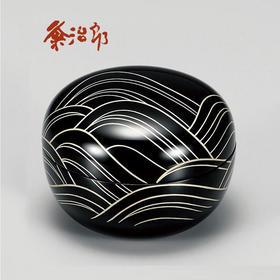 【光琳波玉匣】粂治郎日本越前漆器 手描莳绘 储物罐糖盒盖碗