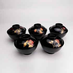 【四季草花汤碗】粂治郎日本越前漆器 手描莳绘 汤碗吸物碗5只装