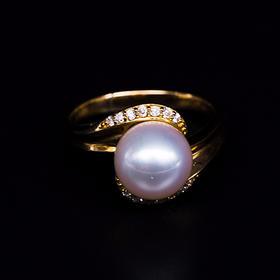 【IRIS-SPIRA】日本akoya珍珠镶钻戒指 阿古屋珍珠罕见未调色天然珍珠