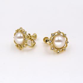 八钻珍珠复古耳夹