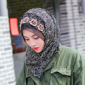 蔷薇绣花方便头巾 | 亚斯米诺—方便、炫丽、时尚