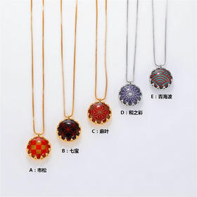【江户纹样】和式色调水晶纯银项链