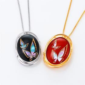 【比翼双飞】水晶螺钿纯银项链