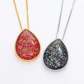 【银河水滴】水晶螺钿纯银项链
