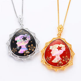 【花园少女】水晶螺钿纯银项链