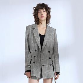SYUSYUHAN设计师品牌 定制反面抓绒复古格纹绅士风双排扣挺括西装