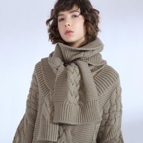 SYUSYUHAN设计师品牌 巴素兰羊毛重磅加厚粗针麻花时髦百搭围巾