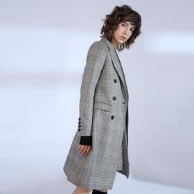 SYUSYUHAN设计师品牌 定制加厚挺括反面拉毛复古格子长款收腰西装