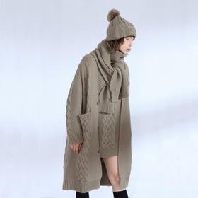 SYUSYUHAN设计师 巴素兰羊毛重磅加厚粗针麻花毛男友风长款开衫