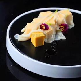 经典意境盘可放干冰全瓷黑/白两款可选/意境菜肴创意餐厅理想餐具【10只或50只装】