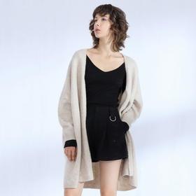 SYUSYUHAN设计师品牌 羊驼毛混纺轻盈软糯宽松廓形百搭长开衫毛衣