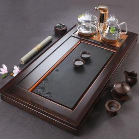 实木茶盘整块乌金石黑檀木双炉茶盘功夫茶具茶台排水式家用