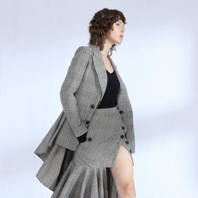 SYUSYUHAN设计师品牌 定制加厚挺括抓绒复古格子独特燕尾大摆西装