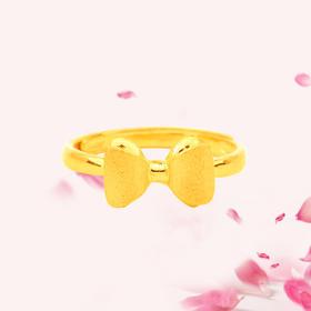 蝴蝶结 足金戒指