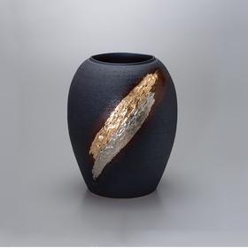 【浮雕】金银箔灰釉花瓶