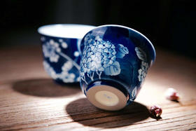 景德镇品墨善雅 正品纯手绘青花瓷器 功夫茶对杯 团圆美满