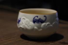 品墨善雅 景德镇功夫茶具茶杯 纯手绘雕刻青花茶杯手工单杯 十全十美