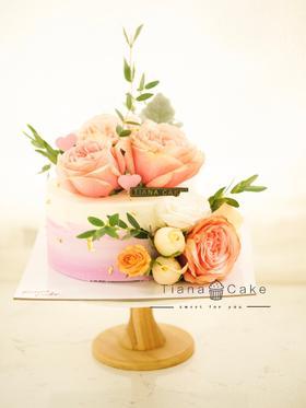 鲜花蛋糕  进口花