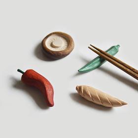 山舍 原创木制可爱食蔬筷枕