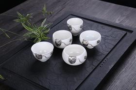 优质白玉瓷茶杯 荷叶荷花为纯银(5种款式)