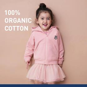 ALL BLU拉链加厚保暖有机棉纯棉抓绒连帽衫女童男童卫衣