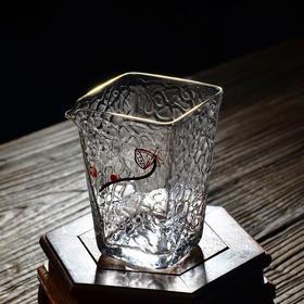 手绘玻璃四方公道杯锤目纹公平杯公杯小茶海日式功夫茶道茶具配件