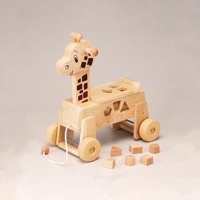 【长颈鹿】木制小拉车 日本制安心玩具