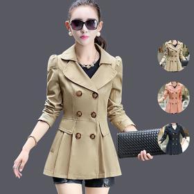 时尚气质淑女中长款修身风衣外套 YX6816