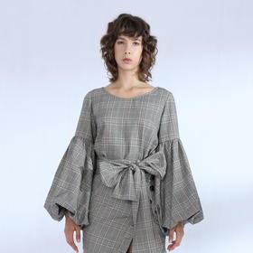 SYUSYUHAN设计师品牌 格纹立体灯笼袖反面抓绒长袖套头腰带上衣