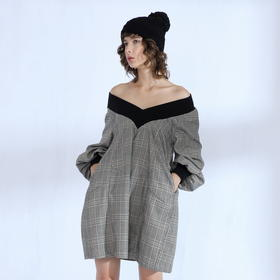 SYUSYUHAN设计师 格子螺纹V领两穿可露肩灯笼长袖A摆宽松连衣裙冬