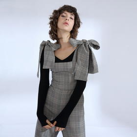 SYUSYUHAN设计师品牌 夸张绑带蝴蝶结修身格子连体阔腿长裤女冬
