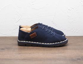 藏蓝色系带软底休闲男士皮鞋