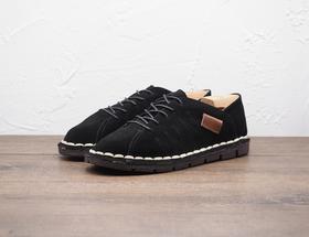 黑色系带软底休闲男士皮鞋