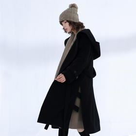 SYUSYUHAN设计师品牌 大帽子浴袍式绑腰带开衩毛呢大衣女冬中长款