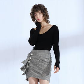 SYUSYUHAN设计师品牌 经典格子立体剪裁荷叶边珍珠扣包臀半裙女冬