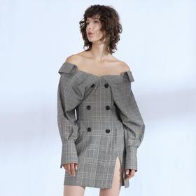 SYUSYUHAN设计师品牌 格纹两穿露肩性感大V领长袖收腰连衣裙女冬
