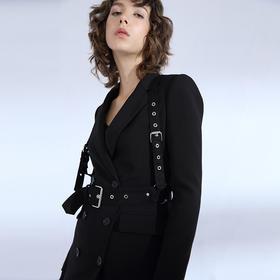 SYU SYU HAN设计师品牌 金属圆环铆钉按扣可拆百搭秀场胸背带腰带