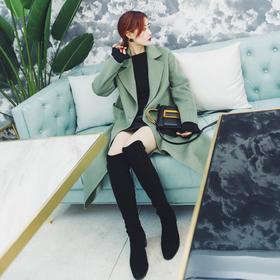 [屁侠.pippa] 青叶绿 西装领双排扣 100%羊毛手工双面尼长款大衣