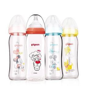 【贝亲新品】迪士尼彩绘玻璃奶瓶240ml搭M奶嘴
