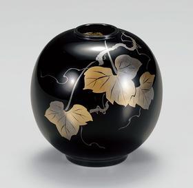 【常春藤莳绘花器】日本越前漆器 手描莳绘花瓶