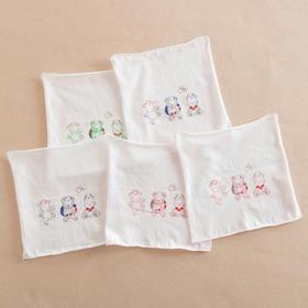 哈咪奇 宝宝单面薄手帕纯棉纱布手绢 婴儿擦奶巾手帕洗脸巾5条装