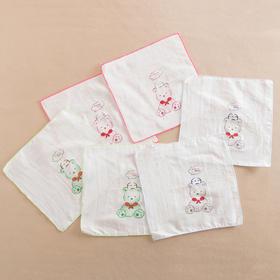 哈咪奇 宝宝薄手帕纯棉纱布手绢 婴儿擦奶巾手帕洗脸巾6条装