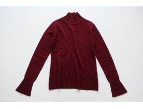 羊绒100% - 女长袖单层高领小喇叭袖套头衫
