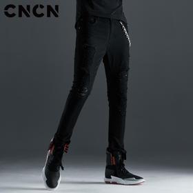 CNCN男装 青年秋季破洞牛仔裤 黑色修身磨毛单宁裤子CNCN52103