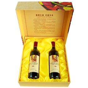 中粮长城解百纳锦上添花干红葡萄酒2支礼盒装红酒
