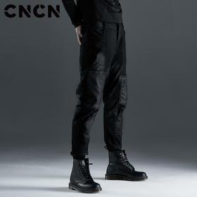 CNCN男装 秋季黑色个性朋克风青年潮牌牛仔裤CNCN52102