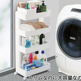 日本进口厨房置物架移动夹缝收纳架带轮多层储物架推车整理架